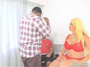 cougar Alura Jenson makes her daughters boyfriend watch as she gets romped