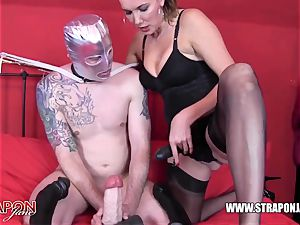 horny gimp gagging and humping femdoms giant strap-on lollipop