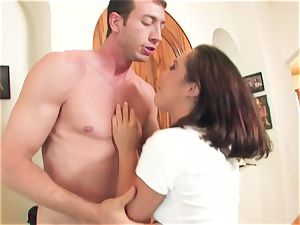 naughty trampy whore Kristina Rose takes a hefty beef whistle deep in her jaws