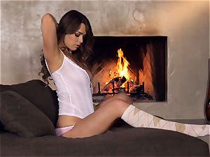 Alaina Fox jerks alone by the fire