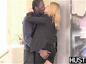 Facialized stunner Britney Amber harsh railing turgid big black cock
