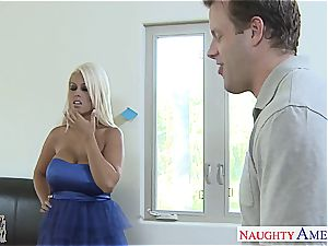 splendid Bridgette B salutes his massive stiffy in her clean-shaven honeypot