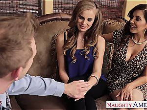 Jillian and Francesca share his fat shaft in their fuck-holes
