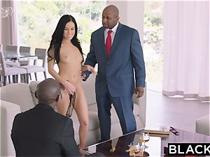 BLACKED scorching Megan Rain Gets DP'd By Her Sugar father and His pal