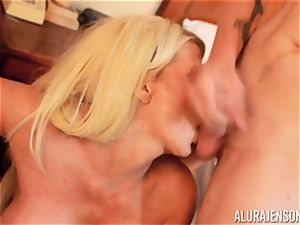 meatpipe inhaling insane threeway Alura Jenson and stud gives a helping forearm