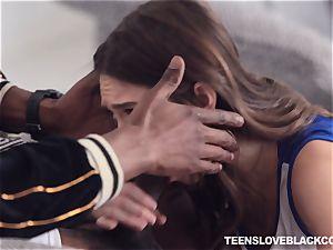 Pretty dark-haired teenage Riley Reid plunged by a black stiffy