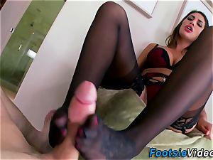 Stockinged hos feet cum