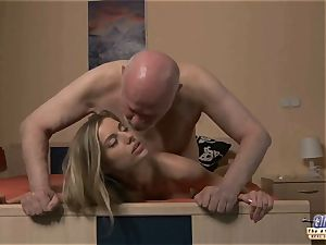 youthful assistant romps senior stud chief drills uber-sexy dame
