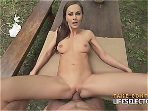 impressively fit dark haired hotty enjoys to get nasty in public
