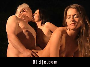 grandfather gets plumbed by 2 hotties