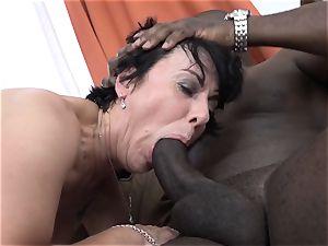 grandma threeways with 2 dark-hued dudes plumb spunk-pumps in mouth