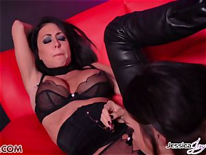 Jessica Jaymes ravaged by Alison Tyler using a strap-on