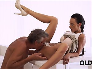 OLD4K. brilliant secretary seduces elderly guy to get another promotion