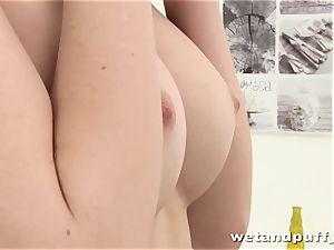 slim hottie Charlotte teasing her sleek puss