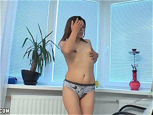 Erika jiggles her honeypot and fumbles her swollen joy button
