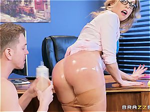 Britney Amber takes fuckpole at work