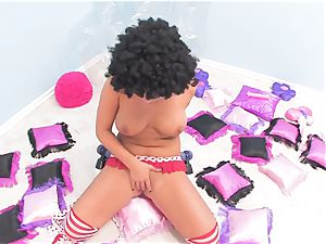 Rollergirl London catapults her raw labia with a toy