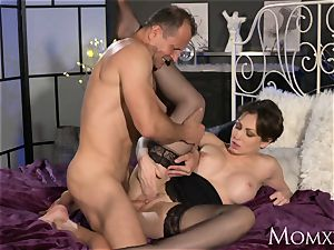 mom Office chick in pantyhose wants rock rigid chisel