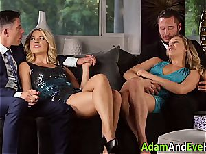 glamour couple and jizz swap with scorching blondes