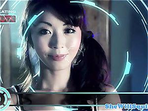 chinese porn star Marica Hase gets a bathtub facial cumshot