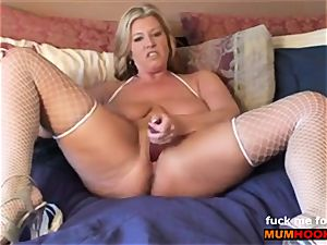 kinky mommy ravage her cootchie and messy conversing