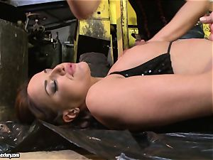 Andy chocolate-colored and Kathia Nobili backside dildoing stiff