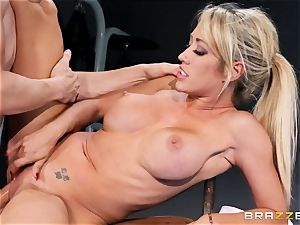 Capri Cavanni concludes her exercise with some hefty man rod