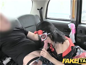 faux taxi chick in mask gets porked in the booty