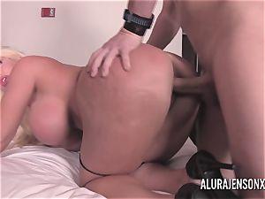 big tit ash-blonde Alura Jenson fuckin' a nervous customer