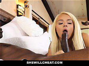SheWillCheat cheating wife absorbs dark-hued knob