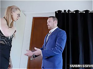 hot towheaded plays a bad lady at the office and gets spanked