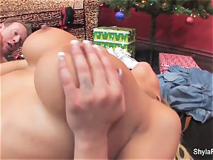 blondie ultra-cutie Shyla gets a internal ejaculation for Christmas