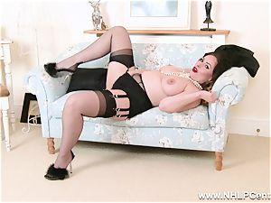 brunette in underwear spreads nylon gams frigs vagina