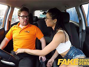 faux Driving college ebony yankee minx Kira Noir