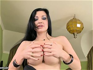 spectacular breasted Aletta Ocean unsheathes her big milk cans teasing everyone's attention