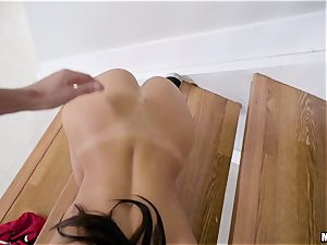 August Ames getting thrashed sack deep on the stairway