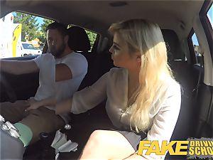 fake Driving school killer huge-boobed posh ash-blonde examiner