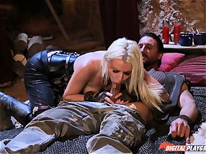 enticing towheaded Stevie Shae getting into nut sack deep distress