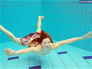 steamy grind ginger-haired swimming in the pool