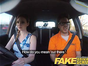 fake Driving school Nerdy red-haired teenage schoolgirl