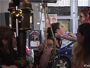 Spanish honey takes restrain bondage in public bar
