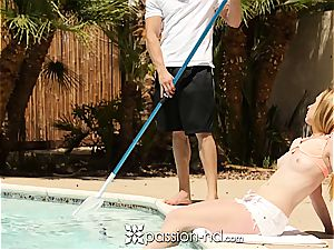 Pool dude ravages luxurious ginger-haired