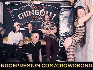 CROWD bondage - Tiffany woman gets smacked in sadism & masochism nail