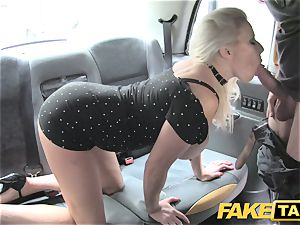 fake cab enormous mammories blond in luxurious high stilettos