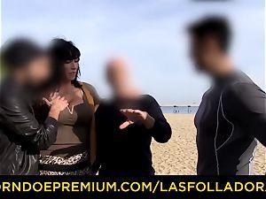 LAS FOLLADORAS - mind-blowing performer gets jism in mouth