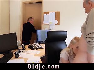 youthful assistant pounds old knob oral job facehole cumshot