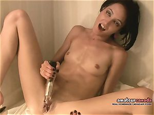 lean French dame with little knockers cums using ben