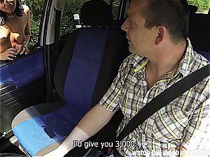 Czech tramp penetrated in the car