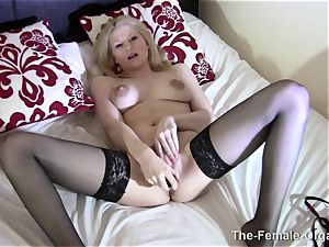 Real cougar Lactates and jerks to ejaculation