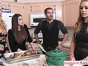 fortunate boy gets the gift of super-hot damsels inhaling him off